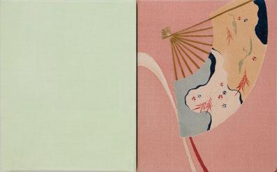o.T. (187) 2012 transparente Seide, Stoffdruck auf Seide 30 x 48.5 cm