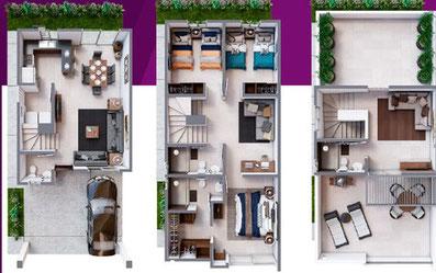Distribucion casa modelo Verona Brianzzas Residencial Escobedo