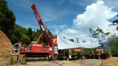 Drill rig at the Wafi-Golpu Cu-Au project, Papua New Guinea