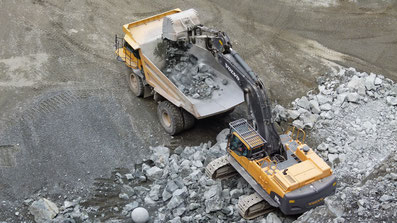 Excavator and dump truck in a quarry