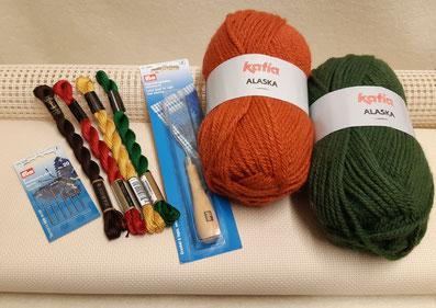 Material zum Knüpfen und Sticken, Stramin, Knüpfmaterial, Knüpfhaken, Knüpfwolle