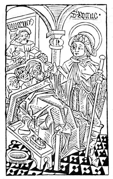 Der Heilige Rochus am Krankenbett.