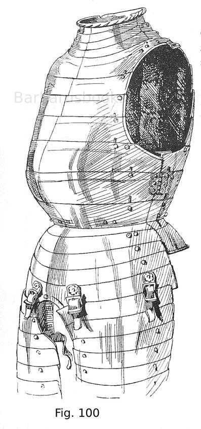 Geschobenes Bruststück, sogenannter ganzer Krebs, mit angeschobenem Kragen, Bauchreifen und Schößen von einem Trabharnisch des Niclas III. von Salm-Neuburg, des Verteidigers von Wien 1529. Deutsch, bezeichnet 1542.
