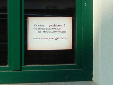 Hinweisschild Renovierung