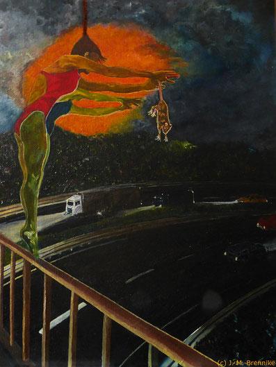 Brennike Anna_und_der_Überblick_Phase3 Ölgemälde Kunst Symbolismus Surrealismus Malerei figurativ, Judith Maria Brennike