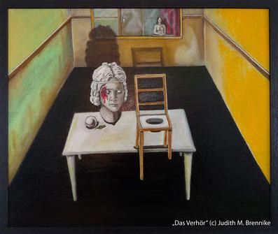Brennike Malerei, Ölgemälde, Das Verhör,  Kunst, Surrealismus, Symbolismus