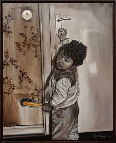 Brennike Malerei, Ölgemälde, Schlüsselkind, Kunst, Symbolismus, figurativ