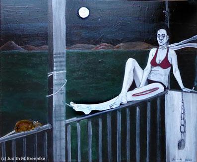 Brennike Anna_und_der_Überblick_Phase2 Ölgemälde Kunst Symbolismus Surrealismus Malerei figurativ, Judith Maria Brennike