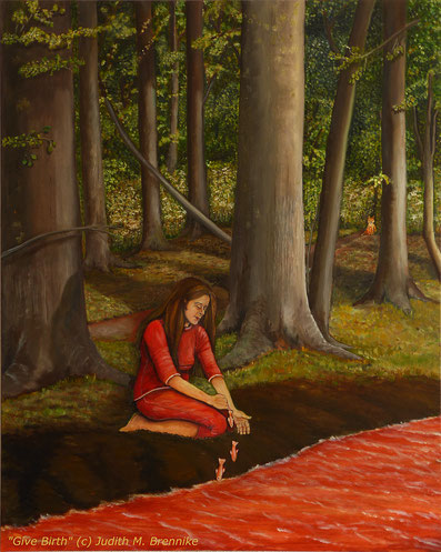 Brennike Malerei, Ölgemäldle, Give Birth, Kunst, Symbolismus, figurativ