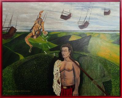 Brennike Malerei, Ölgemälde, Ikarus' Flugstunde, Surrealismus,  Kunst, Symbolismus, figurativ