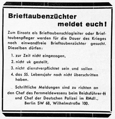 Zeitschrift für Brieftaubenkunde, Brieftaubenwesen, Brieftaubenzüchter meldet Euch!, Brieftauben im Zweiten Weltkrieg, Brieftauben im 2. Weltkrieg
