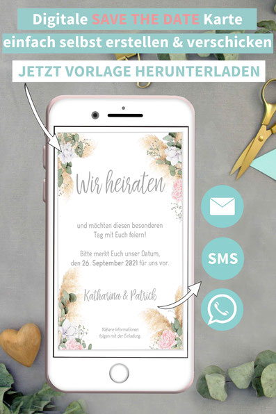 Pampas, Pampasgras, modern, Save the date, digitale, Handy, selber machen, Vorlage, Whatsapp, elektronische, Hochzeit ankündigen, Hochzeitskarte, Druckvorlage, basteln