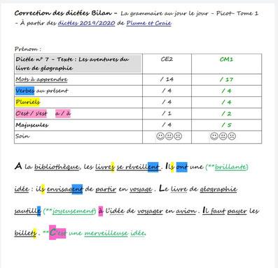 Orthographe Dictées Picot Grammaire Méthode Picot Correction CE2 CM1 cycle 2 cycle 3