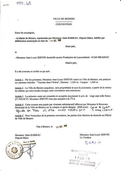 Convention de la Ville de Béziers pour l'achat  du tableau