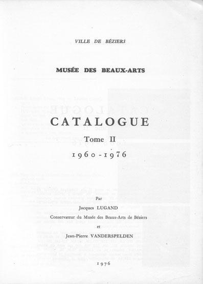 Page de titre du catalogue duMusée de Béziers (Tome II)