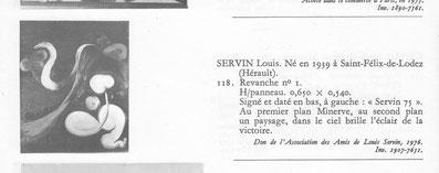 Etrait du catalogue avec la notice de SERVIN