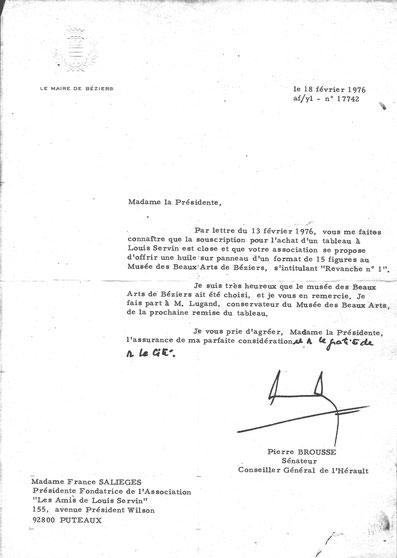 Autre lettre de remerciement du Maire de Béziers