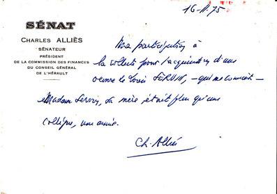 Lettre de Contribution à la souscription par Chales ALLIES sénateur