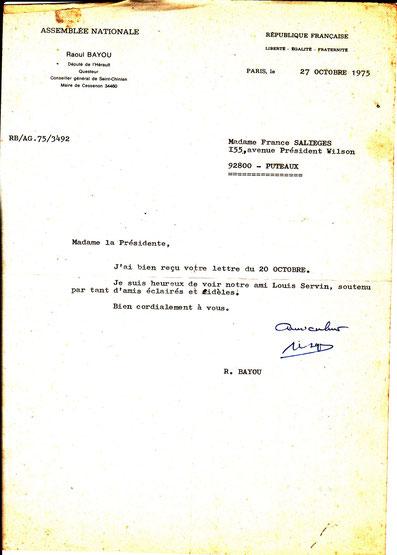 Lettre de contribution à la souscription par Raoul BAYOU Député Questeur