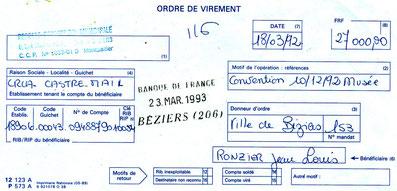 Ordre de virement par la ville de Béziers pour l'achat du tableau