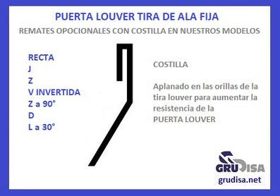 """PUERTA LOUVER (TIRA) Z """"ZETA"""" CON COSTILLA EN EL REMATE (ORILLA) CALIBRES 14  16  18  y  20"""