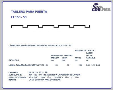 TABLERO PARA PUERTA LT 150 - 50
