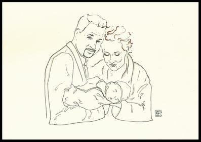 Familien Portrait Zeichnung