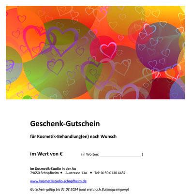 Geschenk-Gutschein #2 für eine Kosmetik-Behandlung nach Wahl.