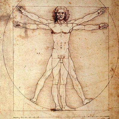 「ウィトルウィウス的人体図」:古代ローマ時代の建築家ウィトルウィウスの記述を元に、レオナルド・ダ・ヴィンチが描いた作品。