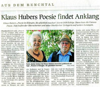 Mittelbadische Presse ARZ Oberkirch am 27. 7. 2020