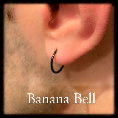 Anneau noir piercing lobe