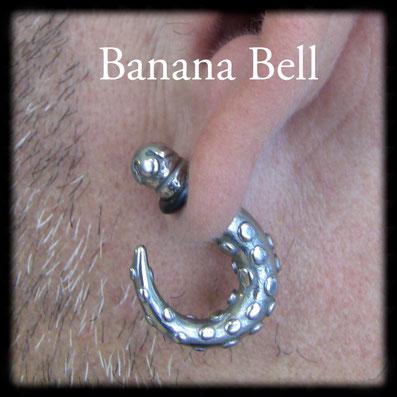Boucle d'oreille acier faux écarteur lobe