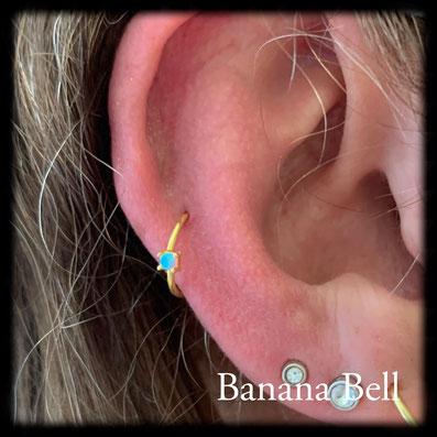 Anneau doré Opale - Piercing Middle Hélix