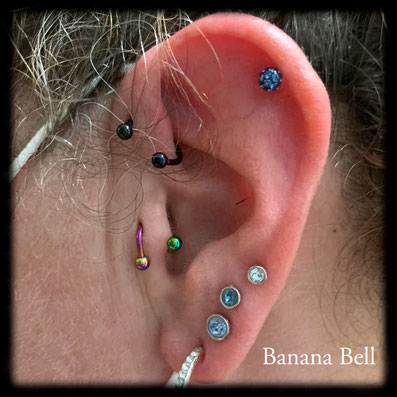 Spiral Rainbow Piercing Tragus