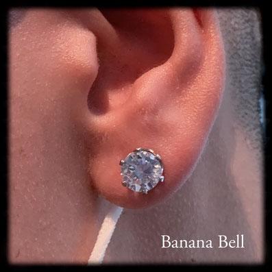 Boucle d'oreille Big Stass serti avec griffes