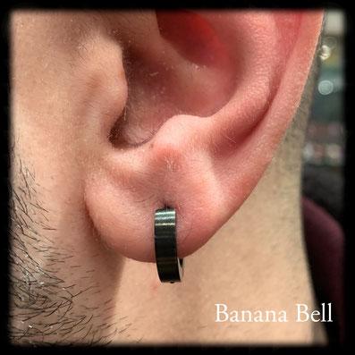 Boucle d'oreille anneau noir