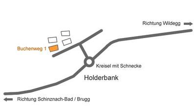 Anfahrtsplan Wohngemeinschaft Casa Viva, Sozialtherapeutische Einrichtung, Berufliche und soziale Integration, Holderbank, Aargau