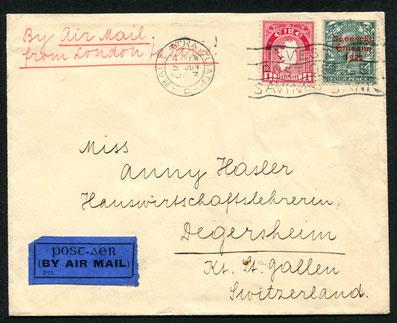 5.6.1923 Dublin, FLP Brief nach Degersheim, Schweiz mit der HANDLEY PAGE-Linie London-Paris AKSt. 6.6.1923 und AKSt. Degersheim 7.6.1923.