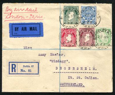 """23.5.1923 Dublin, früher Beleg ab Dublin für die HANDLEY PAGE Linie London-Paris. Rückseitig Stempel von London auf Vignette """"Stamp Exhibition"""", sowie Transitstempel von Paris vom 24.5.1923."""