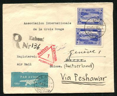 25.10.1939 Kabul, R-FLP Brief an das IKRK in Genf mit britischer Zensur in Pershawar, dann wöchentlich über Ne11.4.1931 Kairo, Zeppelin-LZ 127, Rückfahrt der Ägyptenfahrt Kairo-Friedrichshafen mit für diesen Flug herausgegebener Sonderaufdruckmarke. AKSt.