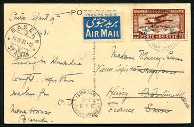 11.4.1931 Kairo, Zeppelin-LZ 127, Rückfahrt der Ägyptenfahrt Kairo-Friedrichshafen mit für diesen Flug herausgegebener Sonderaufdruckmarke. AKSt.