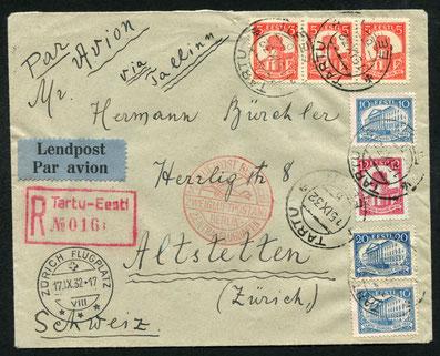 15.9.1932 Tartu, R-Beleg mit rotem Transitstempel von Berlin (Tempelhof) sowie AKSt. von Zürich, gleicher Flugpopstweg.