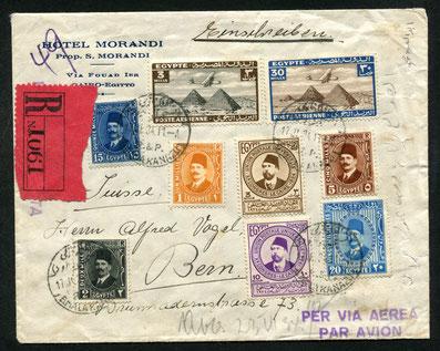 17.7.1934 Kairo, R-Beleg mit Imperial Airways bis Brindisi, Weiterleitung per Bahn, rückseitig Transit-Bahnstempel von Brindisi und Mailand, AKSt. Bern 23.7.