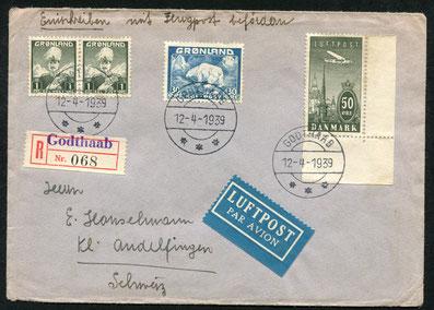 12.4.1939 Godthaab, R-Brief ab Godthaab (Hauptort). Da noch keine Fluglinie bestand wurde die Flugposttaxe mit einer dänischen Marke gedeckt, rückseitig AKSt. von Andelfingen 11.5.1939.