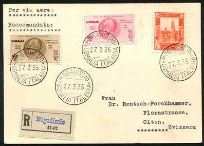 """27.3.1935 Mogadiscio, R-Karte mit Flugpostfrankatur, ab Mogadisio mit IMPERIAL AIRWAYS via Asmara-Khartum-Kairo bis Rom (rückseitig Transitstempel vom 12.4.1935), dann via Mailand bis Zürich mit ALI/SWISSAIR, rückseitig AKSt. """"Zürich Flugplatz 13.4.1935-1"""