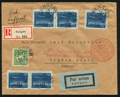 15.9.1933 Kungsör, R-Flugpostfrankatur Stockholm-Kopenhagen-Berlin mit ABA/DLH, Umlad und weiter mit DLH bis Frankfurt und SWISSAIR-Eillinie (ab 1.5.1933) bis Basel.