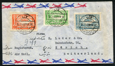 4.9.1948 Kabul, R-Beleg mit Flugpostfrankatur Kabul-Kalkutta (ab 14.6.1948 bekannt) - Bombay mit AIR INDIA, Bo11.4.1931 Kairo, Zeppelin-LZ 127, Rückfahrt der Ägyptenfahrt Kairo-Friedrichshafen mit für diesen Flug herausgegebener Sonderaufdruckmarke. AKSt.