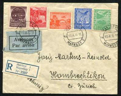 18.9.1935 Maribor, R-Flugpostfrankatur für die gleiche Flugstrecke, rückseitig Bahnpoststempel Ljubliana-Belgrad und blauer Flugpost-Aufgabestempel von Belgrad, Weiterleitung in die Schweiz mit SWISSAIR.