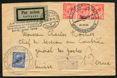 20.6.1928 London, Flugbeleg mit der ABA-Nachtpostlinie Etappe London-Amsterd26.4.1940 Aden (Englische Kolonie), Zensurbeleg zweifach, in Aden und Ägypten kontrolliert.  Leiweg über Djibouti ( Franz. Somaliland) - Suez - Alexandria - Italien in die Schweiz