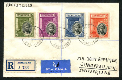 21.1.1939 Zanzibar, R-Beleg mit IMPERIAL AIRWAYS über Kairo mit rückseitigem Transitstempel von brindisi (Umlad) und Bahnstempel von Mailand, sowie AKSt. von Kleine Scheidegg 28.1. 1939 und Jungfraujoch vom 29.1.1939.
